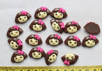 Free Shipping! 100pcs kawaii Beautiful Girl the Explorer flat back Resin Cab Cabochon for craft accessories