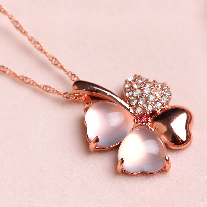 Pink Natural AAA Crystal & Rose Gold Plated Zircon Composition 4 Heart Shape Clover Pendant Necklace Fashion Jewelry Chain - The Prince and Princess store