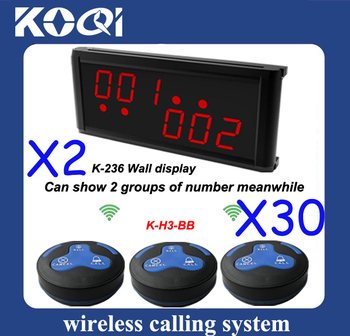 30 H3-BB bells and 2 K-236 display receiver,excellent quality Pager Calling System Restaurant Paging System