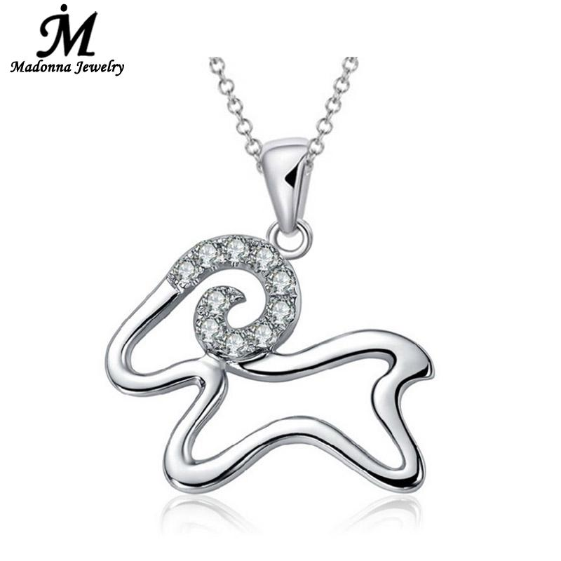 High Quality Luxury CZ Diamond Aries Pendant Women Jewelry Wholesale Cute Small Sheep Silver Plate Charm Child Jewelry(China (Mainland))
