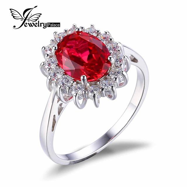 Принцесса Диана Уильям 2.5ct Красный Рубин Свадьба Обручальное Кольцо Для Женщин ...