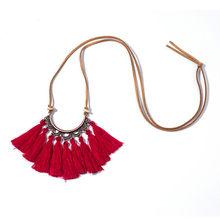 Vintage Tuyên Bố Da Chuỗi Dây Boho Dân Tộc Tua Rua Mặt Dây Chuyền Vòng Cổ Choker Nữ Áo Len Dây Chuyền Quần Áo Phụ Kiện(China)