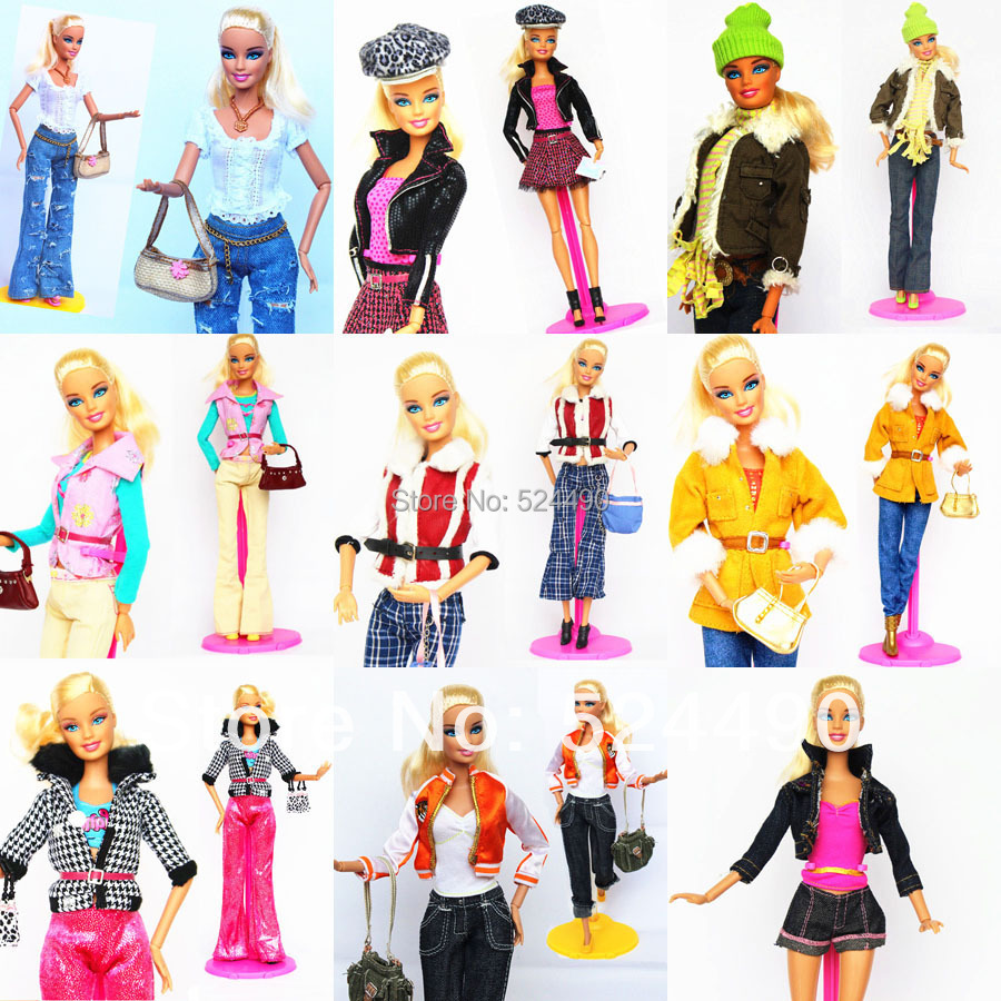 5 Sets Outfit Unique Design Handmade Doll Dresses Clothing Suit Coat Pants Accessories For Kurhn Barbie Doll Children Kids Gift(China (Mainland))