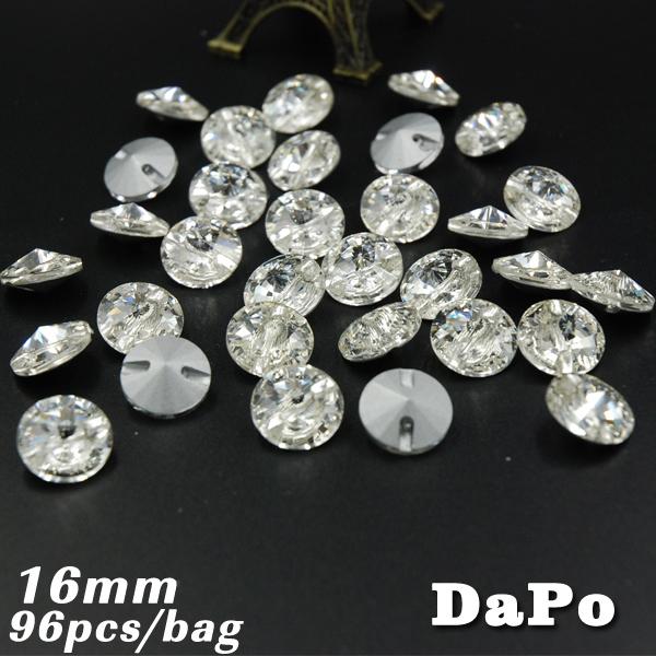 16mm 96pcs/bag Crystal Satellite Rhinestones Straight Hole Button/Sewing Free shipping(China (Mainland))