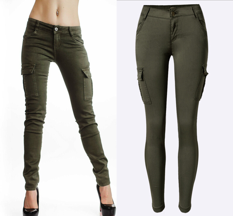 2016 New Styles Mid Waist Elasticity Women Stretch Pencil Jeans Fashion Double Side Pockets Army