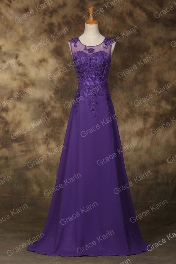 Elegant Avondjurk Grace Karin Long A Line Vestido Chiffon Sleeveless