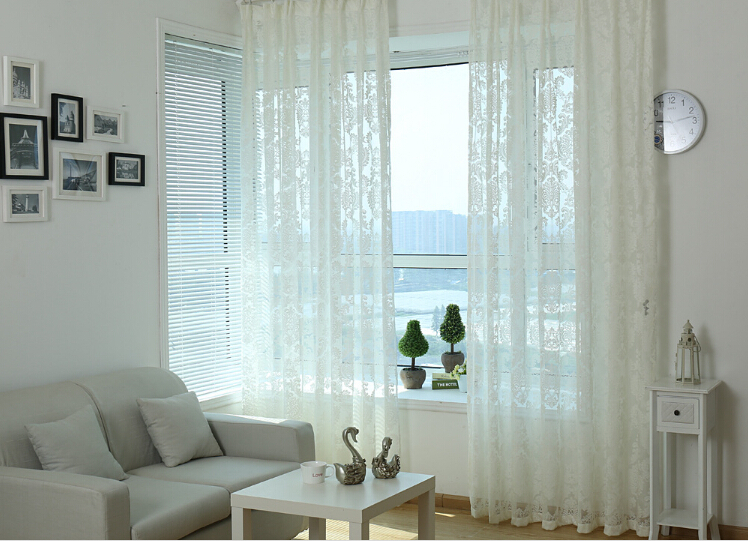 grade modern European white lace curtains finished thickening curtain ...