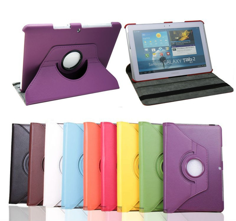 Free Shipping 360 Degree Rotating PU Leather Case Cover For Samsung Galaxy Tab 2 10.1 For P5100 P5110 P7500 P7510 + film(China (Mainland))