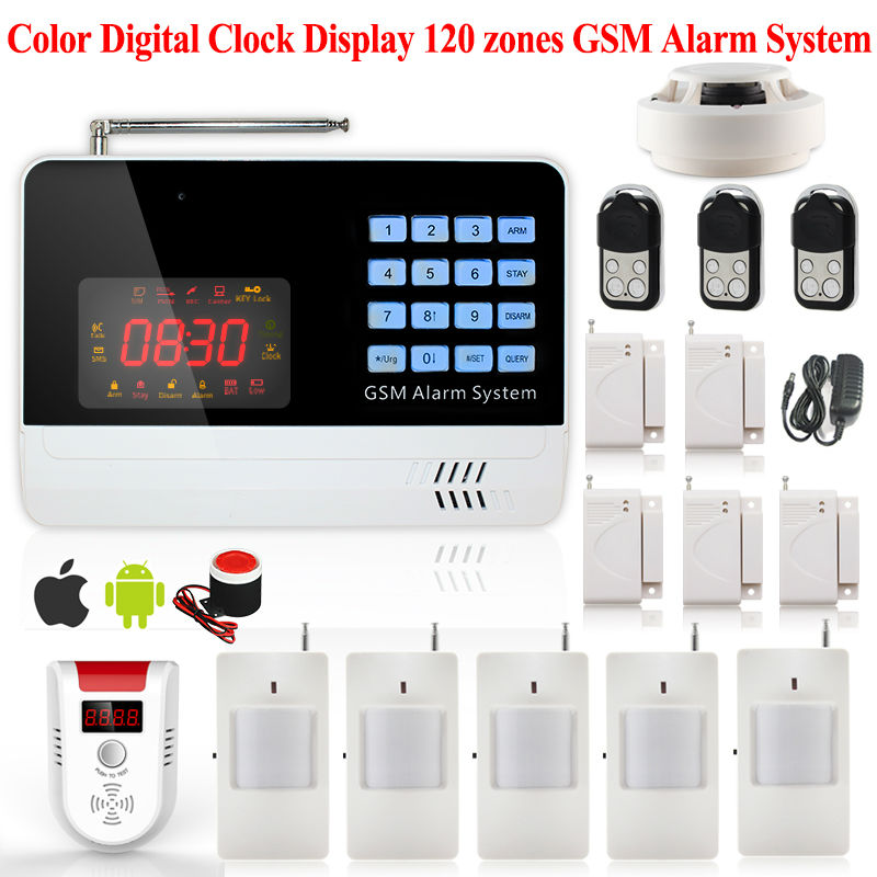 433mhz APP Control 120 Wireless Zones English Spanish Russian voice Manual GSM Alarm System Gas Sensor Smoke Detector kit(China (Mainland))