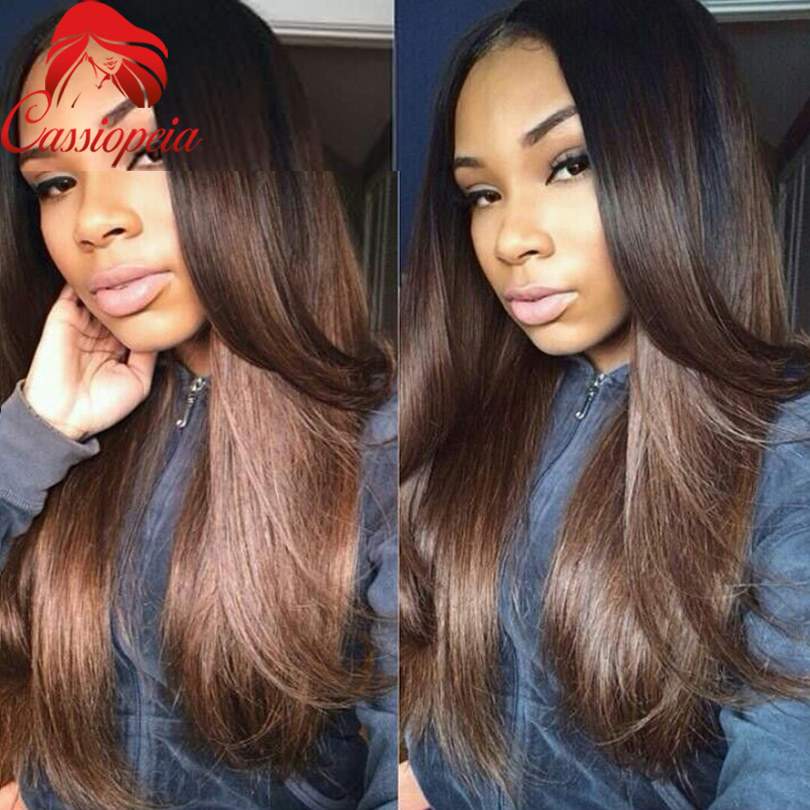 Brown Malaysian Ombre U Part Wig Natural Straight Human Hair Two Tone Color 1b#T4# Upart Wig ...