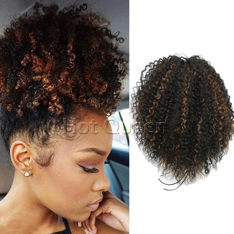Kinky curly Ponytail Extension High Quality Highlight Human Ponytail Hair Tight Wrap Around Human Hair Ponytail