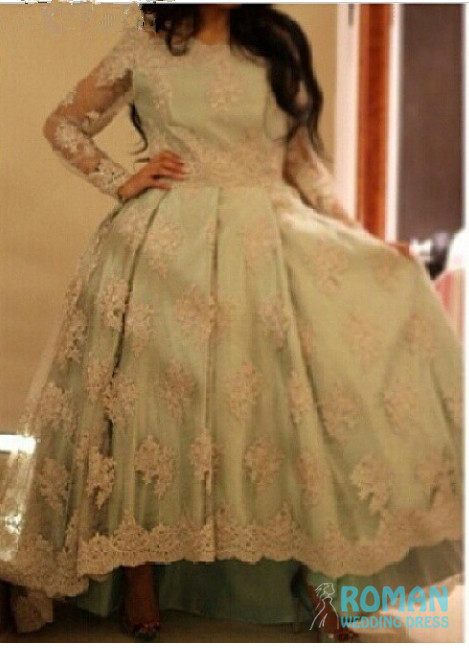 Lovely Light Green Satin Lining Long Sleeves Appliques Lace Short Front Ball Gown Pleat Party Cocktail Dresses 2014 - Sheepherder Store store