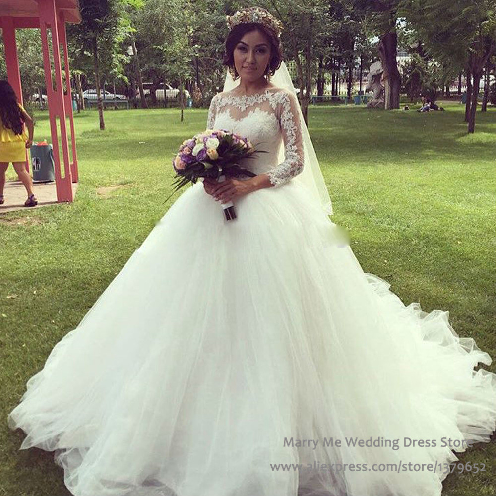 Gown Civil Wedding Dresses Long Sleeve Tulle Bridal Gowns Lace Robe ...
