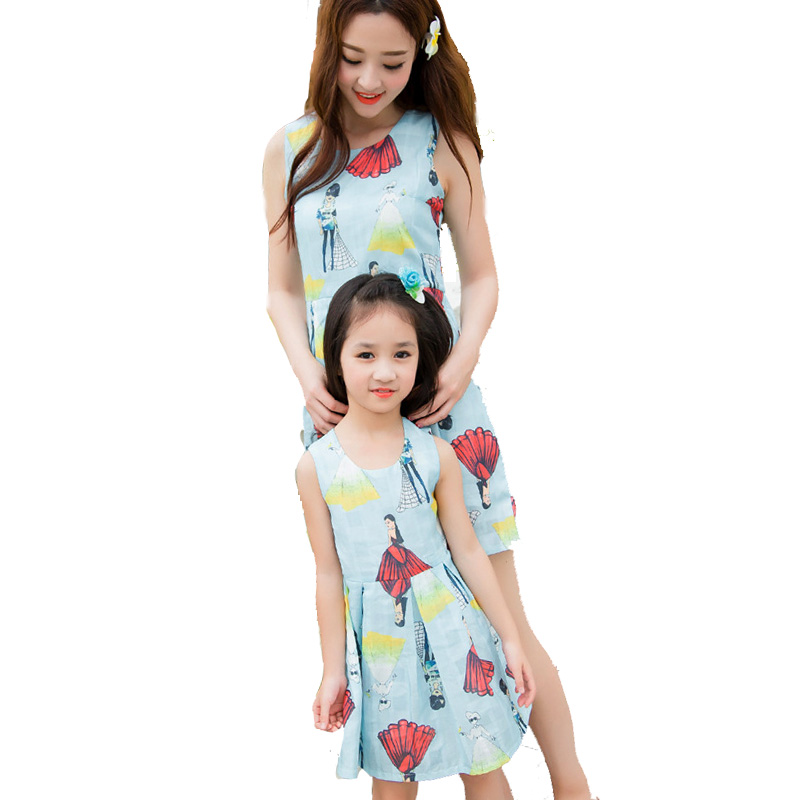 Mother Daughter Dresses Matching Casual Print Mommy and Me