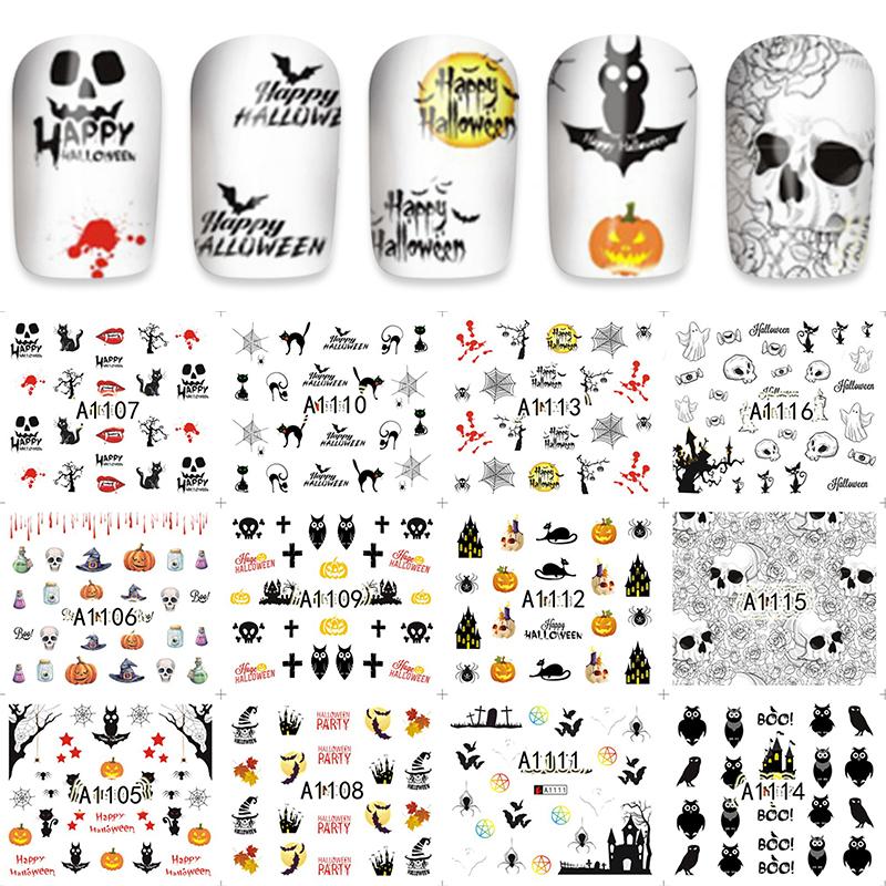 LCJ 12pcs/Lot Beauty Nails Owl/Pumpkin Nail Art Water Decals Holiday Nail Transfer Stickers A1105-1116(China (Mainland))