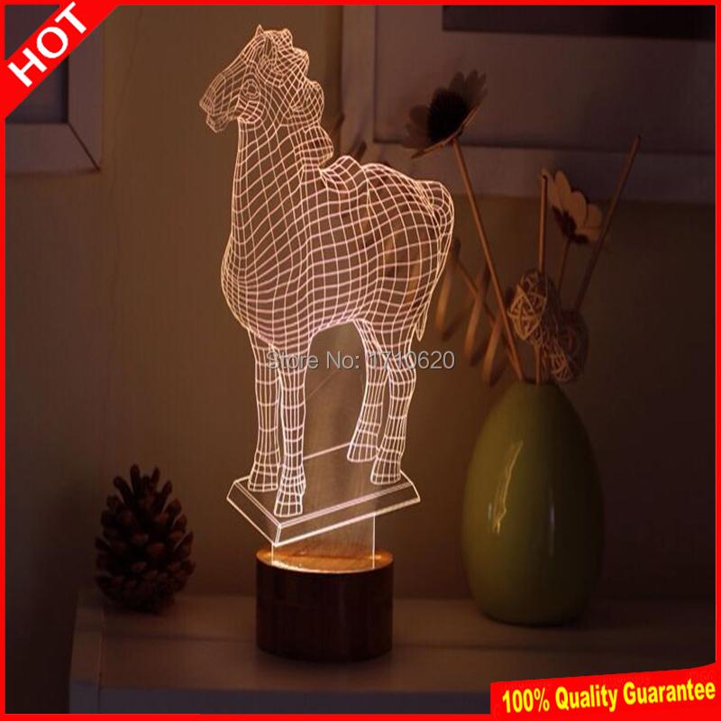 Free Shipping Horse 3D Table Lamps Animal Night Light Luminaria De Mesa Kids Room Lamp Deco Light Fantastic Gift(China (Mainland))