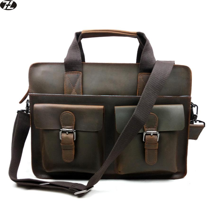 100% Genuine Cow Leather Men bags men Briefcase Laptop Bag men Messenger Handbag Shoulder leather laptop tote travel bags 2016