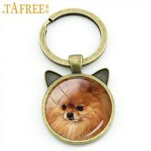TAFREE moda animal keychain Pug Inocente Collie Bronze Antigo Chapeado chaveiro anel titular da orelha de gato cão bonito new jóias DG12(China)