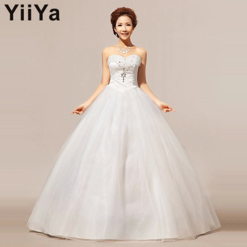 Free shipping 2015 new white cheap wedding dress princess for Cheap princess wedding dress