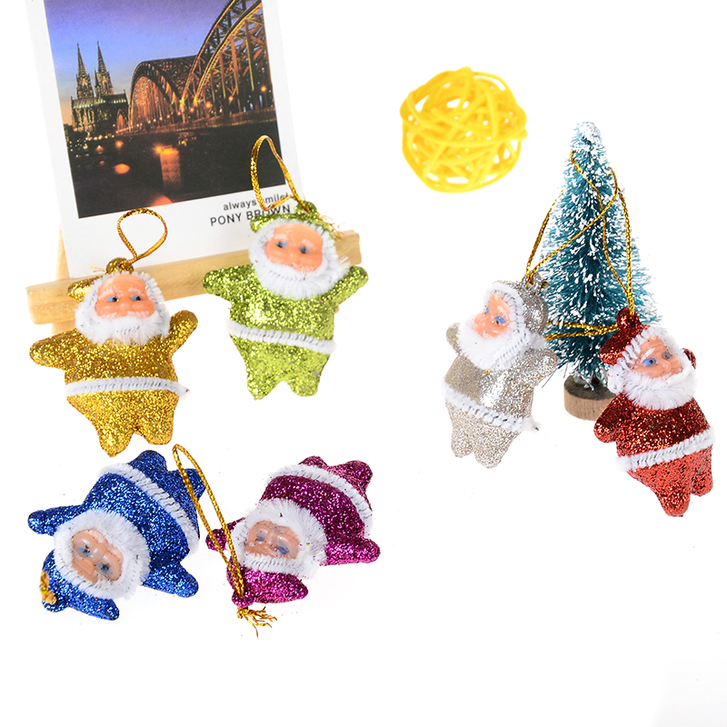 Papai Noel Boneco Adornos Navidad 2016 6PCS/Lot Santa Claus Figurines Christmas Tree Decorations Gift Ornaments 5CM*3.5CM(China (Mainland))