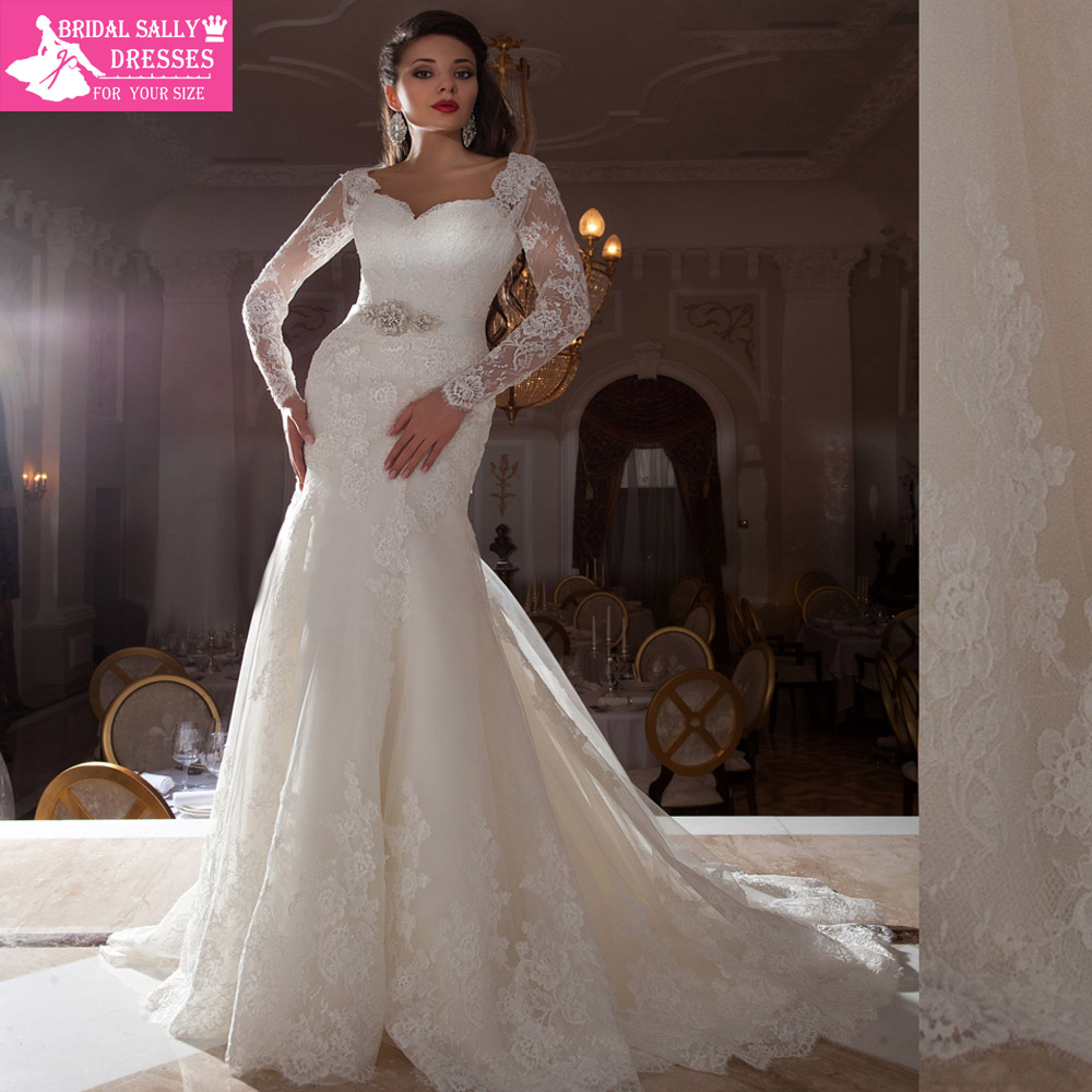 Buy sheer long sleeve lace wedding dress for Long sleeve sheer wedding dresses