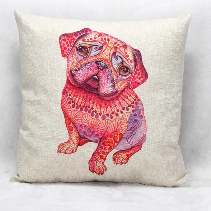 Facoty Wholesale Customized Pink Purple Dog Linen Decorative Throw Pillow Sofa Chair Seat Backrest Cushion(China (Mainland))