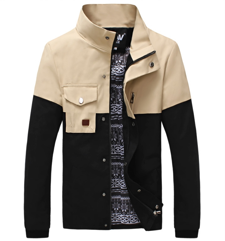 2015 New Arrival Men Fashion Brand Jackets Men's Clothing Male Outerwear Coats Zipper Up Plus Size M-5XL 3 Color Red,Green,Black(China (Mainland))