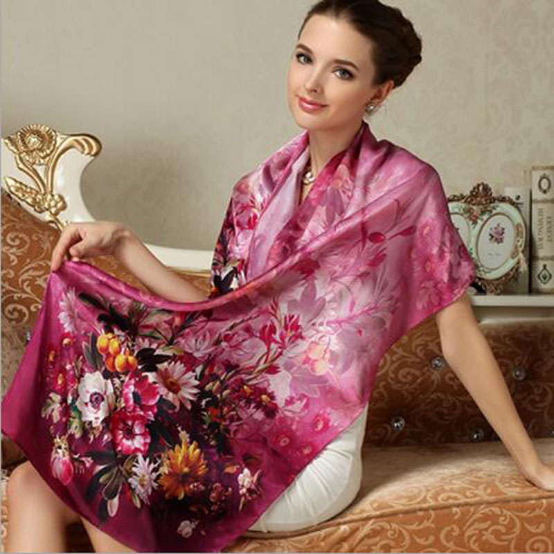 Fashion Women Silk Scarf 100% Silk Scarves Long Scarf Luxury Brand Shawl Silk Scarves Long Printed Shawls Beach Cover-ups(China (Mainland))