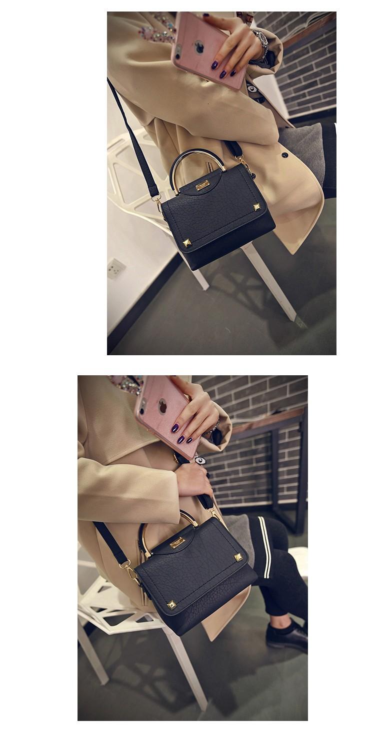 2016 New Korean Style Ladies Handbag Semicircular Handles Rivet Embossing Fashion Bag Women Designer Cheap Small Single Shoulder