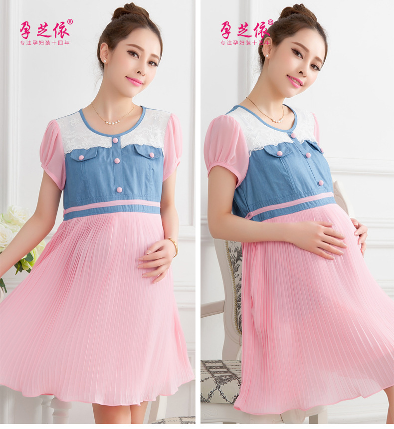 2015 Loose big yards new fashion summer pregnant woman one-piece dress short sleeve jean cotton M L XL MOQ 1 piece - Rella Song's store