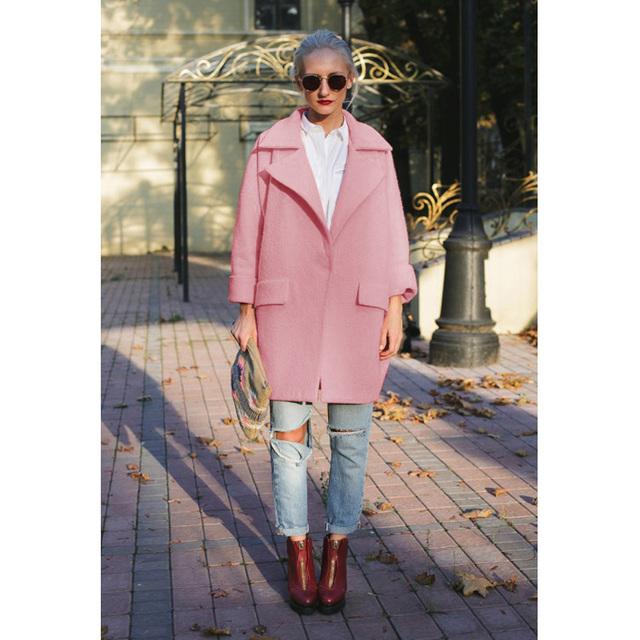 Буэнос-Ниньо 2016 Твердый Розовый С Длинным Рукавом отложным Воротником Куртки Женщин Широкий Талией Осень Пальто 15