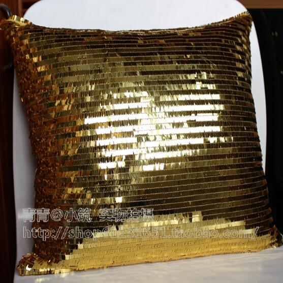 wholesale(2 pieces/lot) gold sequined pillows cushion for sofa pillowcase wedding decorative 40cm off 15%(China (Mainland))