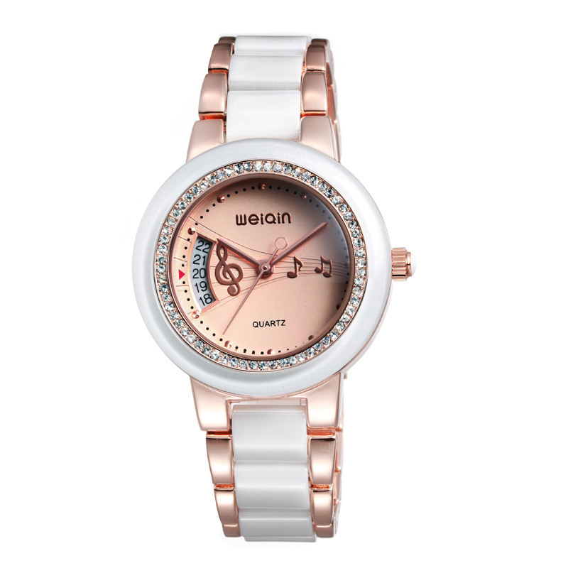 Fashion ladies quartz wristwatches calendar function ceramic & stainless steel band musical note design dial water proof - Gnomon watch Industry Co., Ltd store