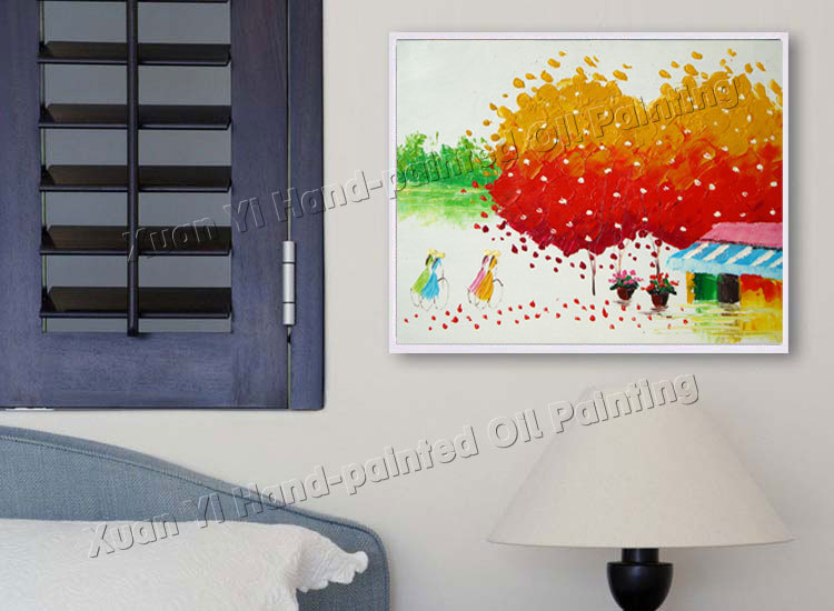 Buy High Quality Handmade Palette Knife Color Tree Modern Wall Art Canvas Home Decoration Oil Paintings (No Frame) cheap