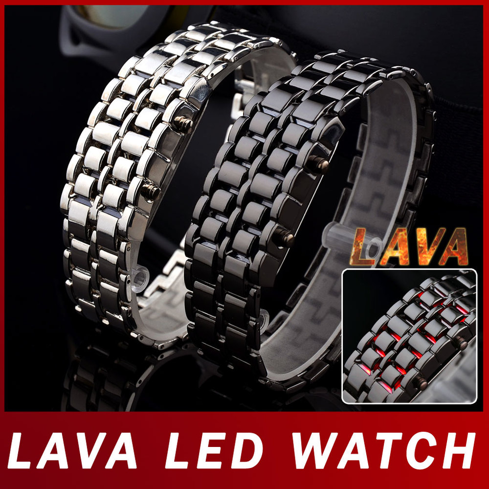 Black Silver Samurai Lava LED Display Watch Full Stainless Steel Casual Wristwatches Men Women Sports Digital - Atolla Global Flagship Store store