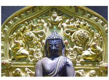 """Copper Brass CHINESE crafts decor ation Asian  12 """"velho 24 K ouro bronze Budismo Sakyamuni buddha Escultura(China (Mainland))"""