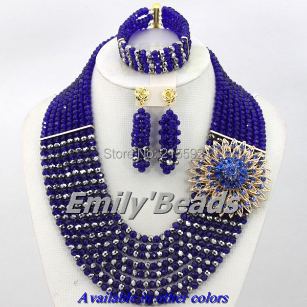 2015 Hot Nigerian Wedding African Beads Jewelry Set Royal Blue Costume Crystal Beads Necklace Jewelry Set Free Shipping AJS809(China (Mainland))