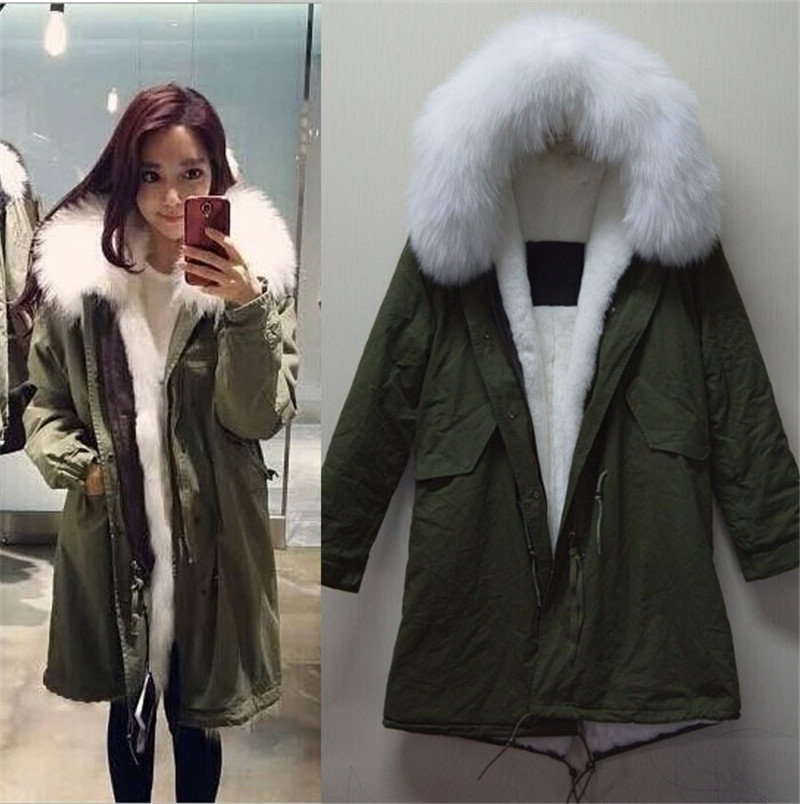 White long parka Mrs real fur collar MR cotton women parka, army green style jacket factory price - foxfurs store