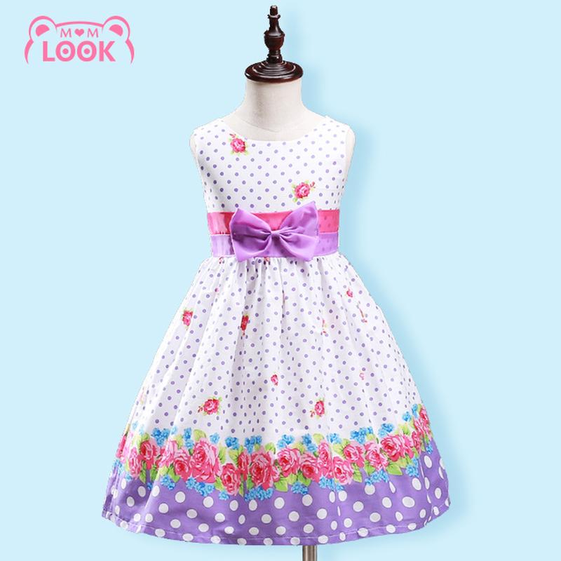 2016 Summer Kids Dresses Sleeveless Princess Polka Dot Flower Baby Girl Cotton Dress Child Girl Dance Cheap Baby Clothes 2-6Year(China (Mainland))