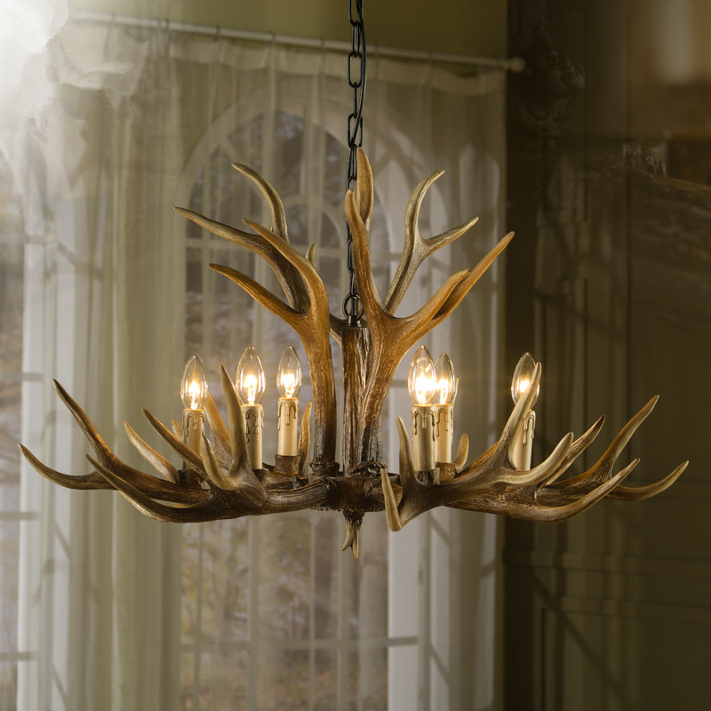 6 Heads Europe Deer Horn Antler Pendant Lamp Mediterranean Resin Antler Kitchen Decor Suspension Vintage antler lamp Retro light<br><br>Aliexpress