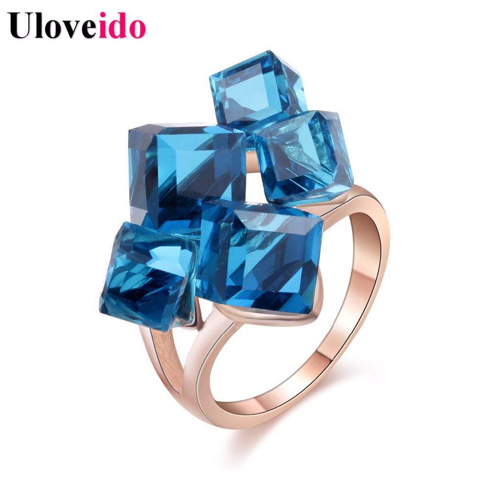 Uloveido Sale Gifts New Year Rose Gold Color Jewelry Woman's Crystal Square Stone Punk Rings Women Anillos 2017 GR123