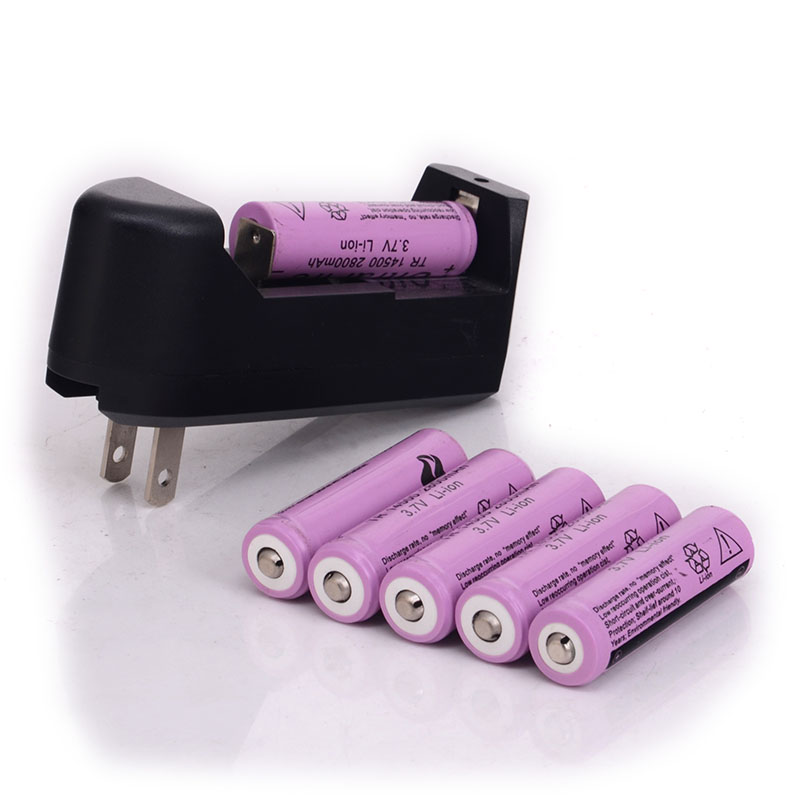 3.7V 14500 2800mAh Rechargeable Battery +14500 charger for LED Flashlight 6*14500 battery +charger(China (Mainland))