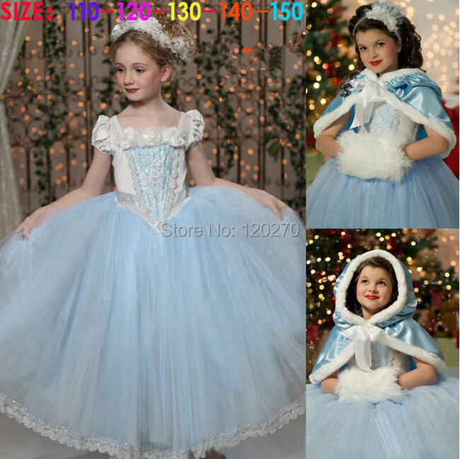 Summer Baby Girls Cinderella Princess Dress Cloak Children's Lace Flower Tutu Kids One-Piece Coat Suit - Honey Baby's store