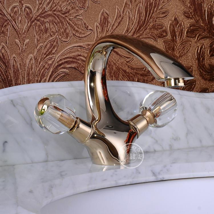 2014 New Faucet Crystal Handle Double Handle Gold Bathroom Tap Mixer Gold Faucet Hot And