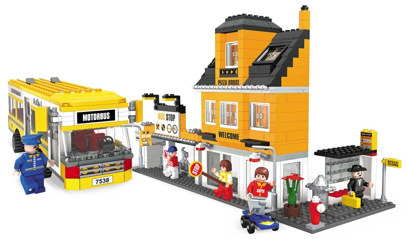 Ausini building block set compatible with lego new city bus 030 3D Construction Brick Educational Hobbies Toys for Kids(China (Mainland))