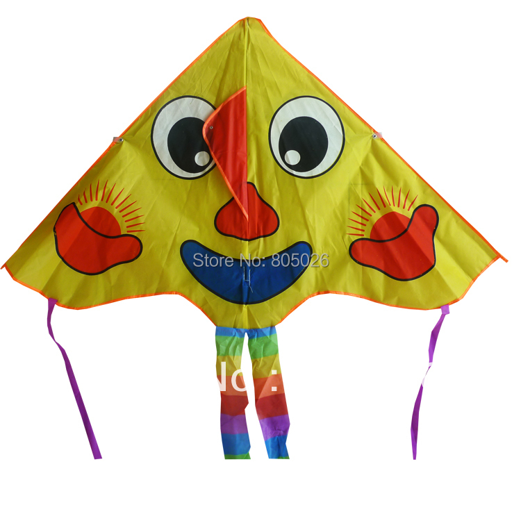 Free shipping high quality smiling kite 10 pcs/lot easy control toy nylon ripstop withkite string ancient chinese kite(China (Mainland))
