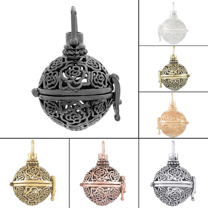 Hot Sale Copper Pendants Round Shape Flowers Openable Hollow Out Mental Box Pendant Retro Fashion Jewelry 4*1PC(China (Mainland))