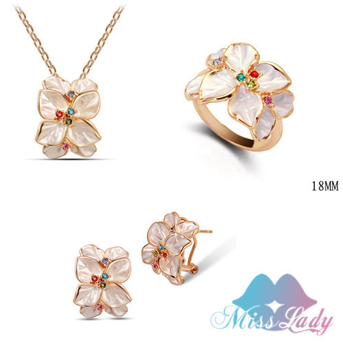 2014 18K Rose Gold Plated Rhinestone Crystal Vintage African costume Jewelry Sets with necklaces earring ring Fashion for women(China (Mainland))