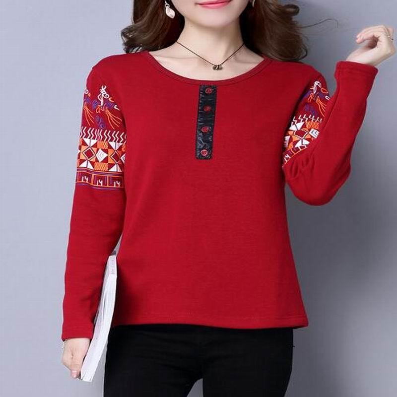M-3XL Cheap clothes National blusas feminina women blousas Tops Winter ethnic boho O neck collar long sleeve Print velvet shirt