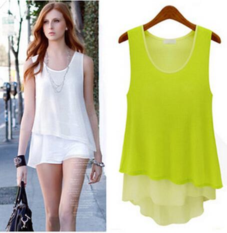 Plus Size T-Shirts New 2015 Women's Tanks Summer Chiffon Lace Blouses Tops Fashion Women Clothing S-XL - your life large size women shop store